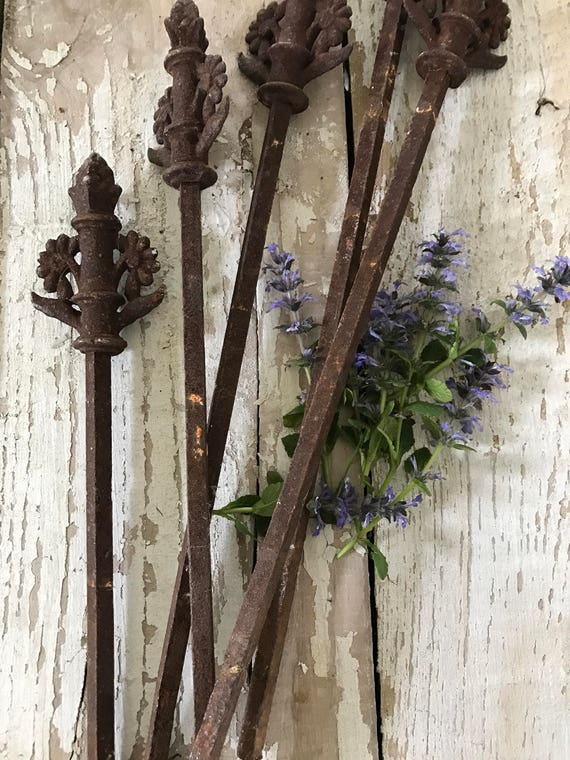 Antique French Iron Garden Stakes Salvaged Fence From France