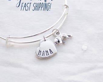 Mama Bear Bangle - Silver Mama Bear Jewelry - Gift for Mom Bracelet - Mother Bear Gift for Christmas sale Christmas Bangle for mom
