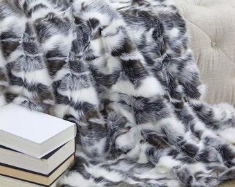 Luxurious Faux Fur Throw Blanket  - Gray Tones - Luxury  Gray Tibetan Fox - Backed with Minky Cuddle Fur - Fur Accents Designs USA