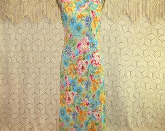 Romantic Summer Dress Boho Chiffon Floral Sleeveless 20s Style Bias Cut Tea Length Garden Party Dress Womens Dresses Medium Womens Clothing