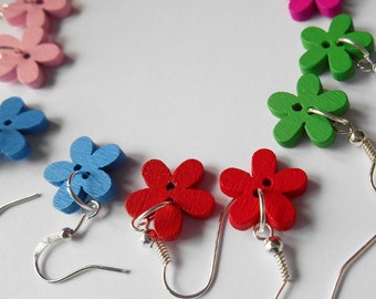 Bright Wooden Earrings, Colourful Flower Buttons, Cute Gifts for Girls, Sewing Favor Basket Idea, Tiny Accessories, Women Jewelry,