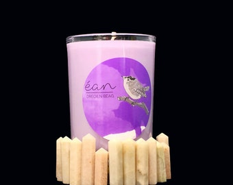 Magic Purple Intention Candle With Crystal,  Promotes Success,  Intuition, Clairvoyance, Moonstone Point, Anise, Pine, Clove, + Lavender