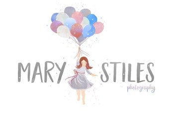 Watercolor Logo - Small Business Logo - Watercolor, Children, girl, Fashion, mommy, blogger, business, sweet, painted, Photography, balloons