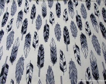 Flannel Fabric - Black Sketch Feathers on Cream - 1 yard - 100% Cotton Flannel