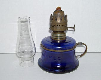 Antique Nutmeg Cobalt Blue Glass Miniature Oil Lamp and Chimney