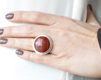 Red Jasper with Iron Banding Ring // Jasper Jewelry // Sterling Silver // Village Silversmith