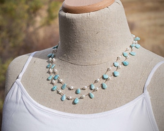 Larimar Necklace   Long Hand Knotted Larimar and Freshwater Pearl Necklace on Pure Silk Cord
