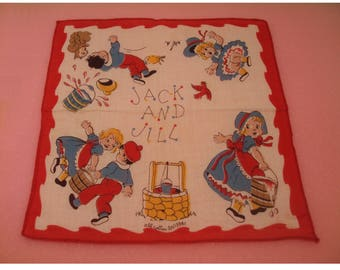 Small Mid Century 50s Jack & Jill Child's Hankie Handkerchief Colorful Red Border Cotton Nursery Rhyme Storybook