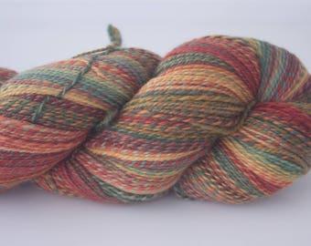 Handspun Yarn, 522yds/477m, 'Strelitzia' colourway, Merino (20.5 mic), 2 ply