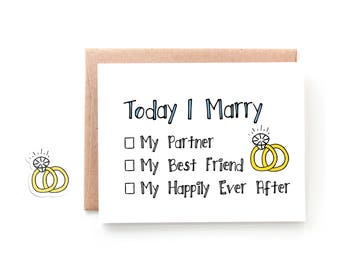 Card for Husband on Wedding Day - Fiancé Card - Wedding Day Card for Future Wife - Future Husband - Happily Ever After by Yellow Daisy Paper