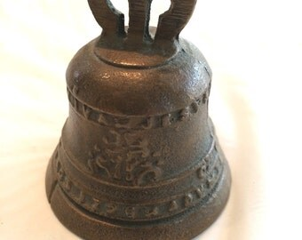 "Antique Brass Bell Viva Jesus Miniature 3"""