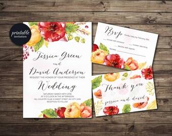 Fall Wedding Invitation Printable, Autumn Wedding Invitation Suite, Red & Yellow Floral Wedding Invitation, Printable Wedding Invitation