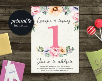 First Birthday Invitation, Girl Birthday Invitation, Floral Birthday invitation, 1st Birthday Invitation Printable, Baby Girl Invitation