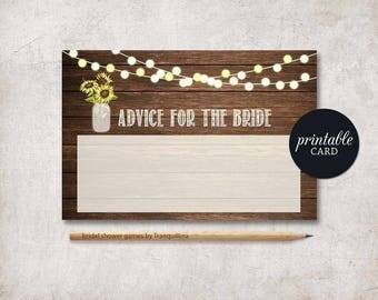 Advice for the bride Printable, Bridal Shower Advice Card, Rustic Advice Card, Sunflower Advice Card, Floral Rustic Bridal Shower Game