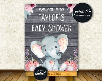Exceptional Baby Shower Welcome Sign, Elephant Welcome Sign PRINTABLE, Elephant Baby  Shower Decoration, Girl