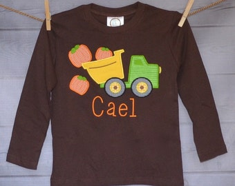 Personalized Truck with Pumpkin Applique Shirt or Onesie for Boy
