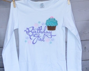 Personalized Birthday Girl Cupcake Applique Shirt or Onesie Girl or Boy