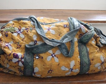 India Floral Cotton Duffle Travel Bag