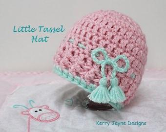 LITTLE TASSEL HAT Baby crochet Hat Pattern, Childs Crochet Hat Pattern Womens Crochet hat pattern All sizes Photo tutorial Crochet Patterns
