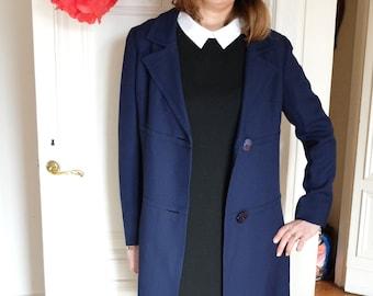 Vintage navy coat,  long coat, Size 38