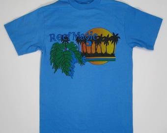80s T Shirt Reef Magic Surf blue tee XS tourist vacation souvenir sea punk hipster rock Hanes 90s hardly worn soft