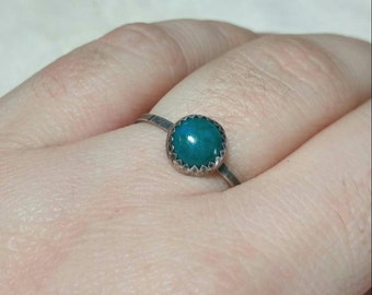 Simple Turquoise Blue Ring   Sterling Silver Ring Sz 8   Blue Green Stone Ring   Chrysocolla Ring   Simple Blue Stone Ring