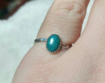 Simple Turquoise Blue Ring | Sterling Silver Ring Sz 7.5 | Blue Green Stone Ring | Chrysocolla Ring | Simple Blue Stone Ring