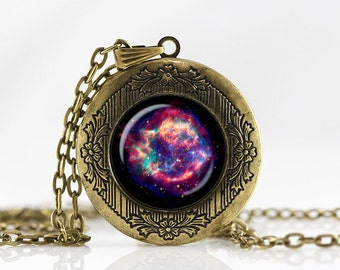Cassiopeia Nebula Locket Necklace  jewelry Personalized Photo Locket Customized with your Photo pendant  photo locket Galaxy necklace