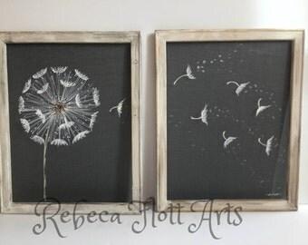 Antique white frame,Dandelion Set of two,Farmhouse style, rustic decor, make a wish,dandelion