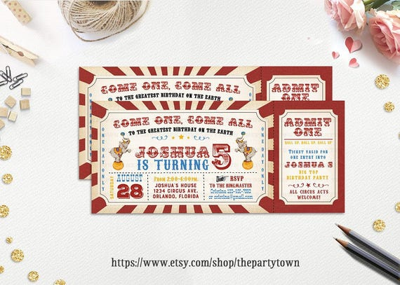 Circus Vintage Ticket Birthday Party Invitation Carnival Invite Boy Neutral Personalized Printable