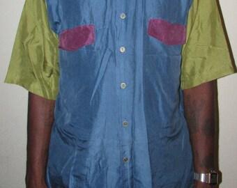 Vintage Silk Shirt color block