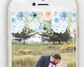 Snapchat Geofilter Wedding, Filter, Rustic, Flowers, Floral, Flower Drop, Pastels, Dusty Rose, Powder Blue, Date, Special Occasion,Banner