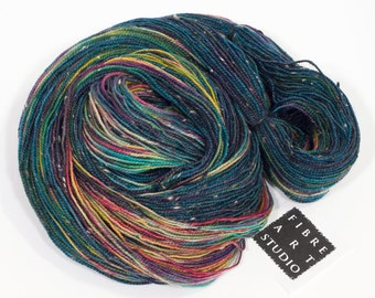 Hand Dyed Yarn | Variegated Donegal Tweed Yarn in Blue, Navy, Green, Magenta, Yellow, Purple | Superwash Merino Wool | Hand Dyed Sock Yarn