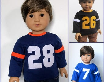 18 Inch Boy Doll Clothes - Custom Numbered Sports Jersey with Long Sleeves: Choose Your Color and Number