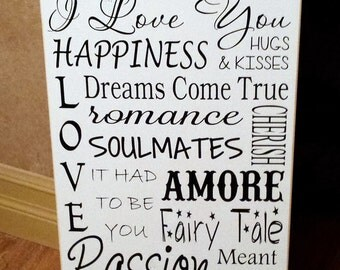 Happily Ever After Soulmate Couples Wood Sign -  Your Choice Of Colors
