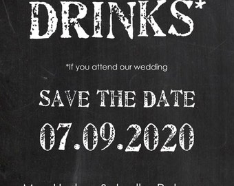 Free Drinks Save the Date 5x7 Custom Digital Card