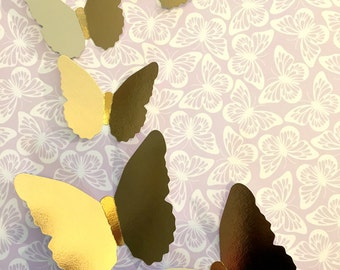 Gold Butterfly shapes, cut-outs. Birthday party, Easter, weddings, party wall decoration, baby shower. Party decor. Gold Foil cardstock.