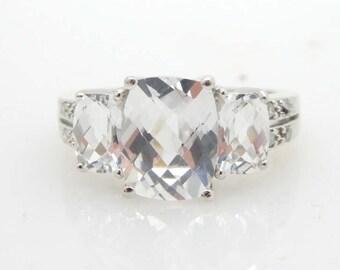 Solid UBJ 10K White Gold Cubic Zirconia 3-Stone Engagement Ring Size 6; sku # 2314