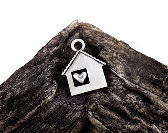 House Charms 23x28mm, Home Charm, Antique Silver Tone House Heart pendant, 2 pcs