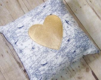 Airplane Pillow - Cover - Gold Heart - Navy airplanes - Gold Pillow -Metallic Pillow - Air traffic control - Heart Pillow - Travel Gift