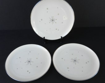 3 Mid Century Syracuse China Evening Star Salad Plates, Atomic, Star, Starburst, Black and Gold, 8 1/8""