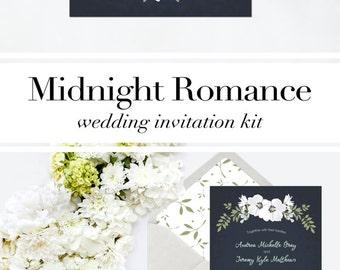Navy Wedding Invitation Printable - Navy and Mint Wedding Invitation Printable - Navy and Blush Wedding Invitation - Wedding Stationery kit