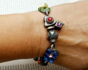 Vintage Dutch Metal Bracelet, Charm Beaded Bracelet with Art Glass