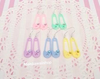 Pastel Safety Pin Rhinestone Earrings