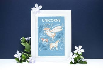 Unicorns Natural History Print - A4 or A3 Artists Print
