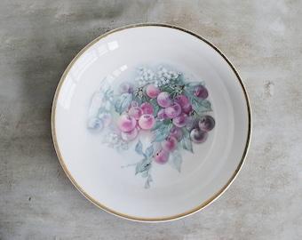 Beautiful Vintage Porcelain CT Carl Tielsch Grape Pattern Altwasser Silesia Bowl Pink Green Peach Purple Hues Victorian English Tea Time