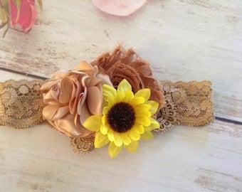 Sunflower girls headband-accessories-newborn headband-girls headband-spring hair bow