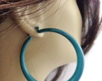 VINTAGE HOOP earrings Sea Green Earrings 2.5 inch Hoop Earrings Tube Hoop Pipe Hoop Earrings