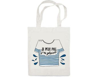 French Marinière Totebag - Cotton Bag - French I can't I have to go swimming - Bag for Men