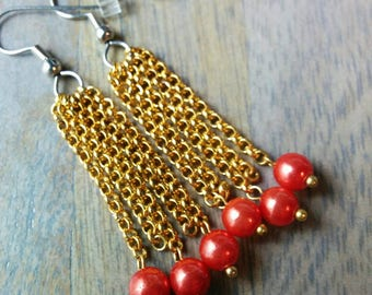 Rhaphiolepis Earrings - The Hawthorns - Red, gold, berry, hypoallergenic, strand, cluster, drop, glowing, medium, dangle, drops, cranberry